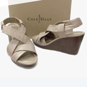 Cole Haan Dinah wedge Sandals in Cove Napa leather